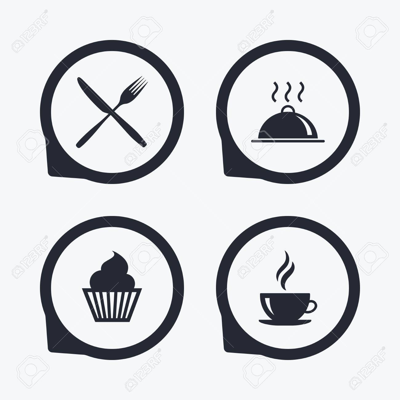 Food And Drink Icons Muffin Cupcake Symbol Fork And Knife Sign