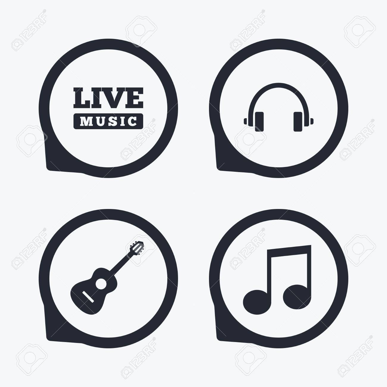 Musical elements icons musical note key and live music symbols musical elements icons musical note key and live music symbols headphones and acoustic guitar biocorpaavc Images