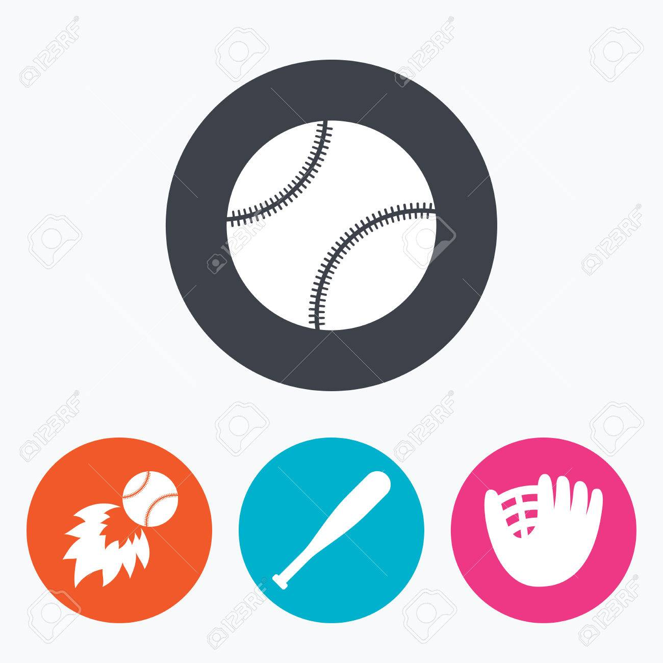 15b3885e156ea Baseball sport icons. Ball with glove and bat signs. Fireball symbol.  Circle flat