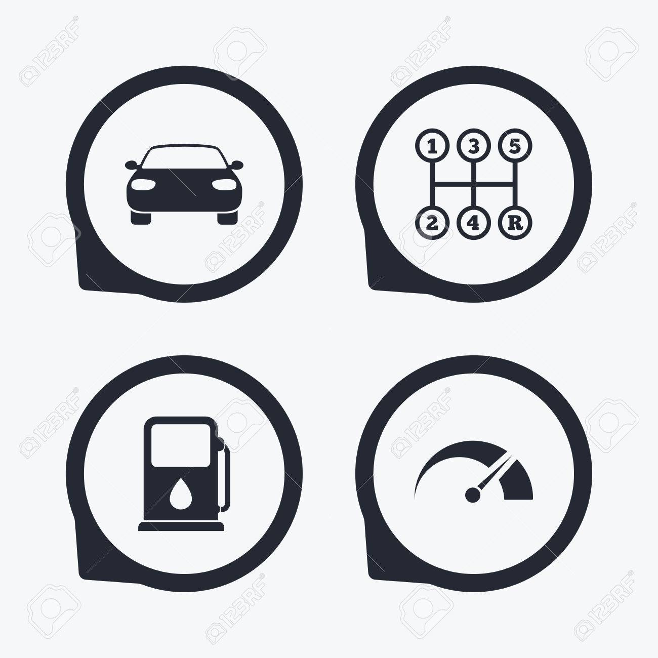 Transport Icons Car Tachometer And Manual Transmission Symbols