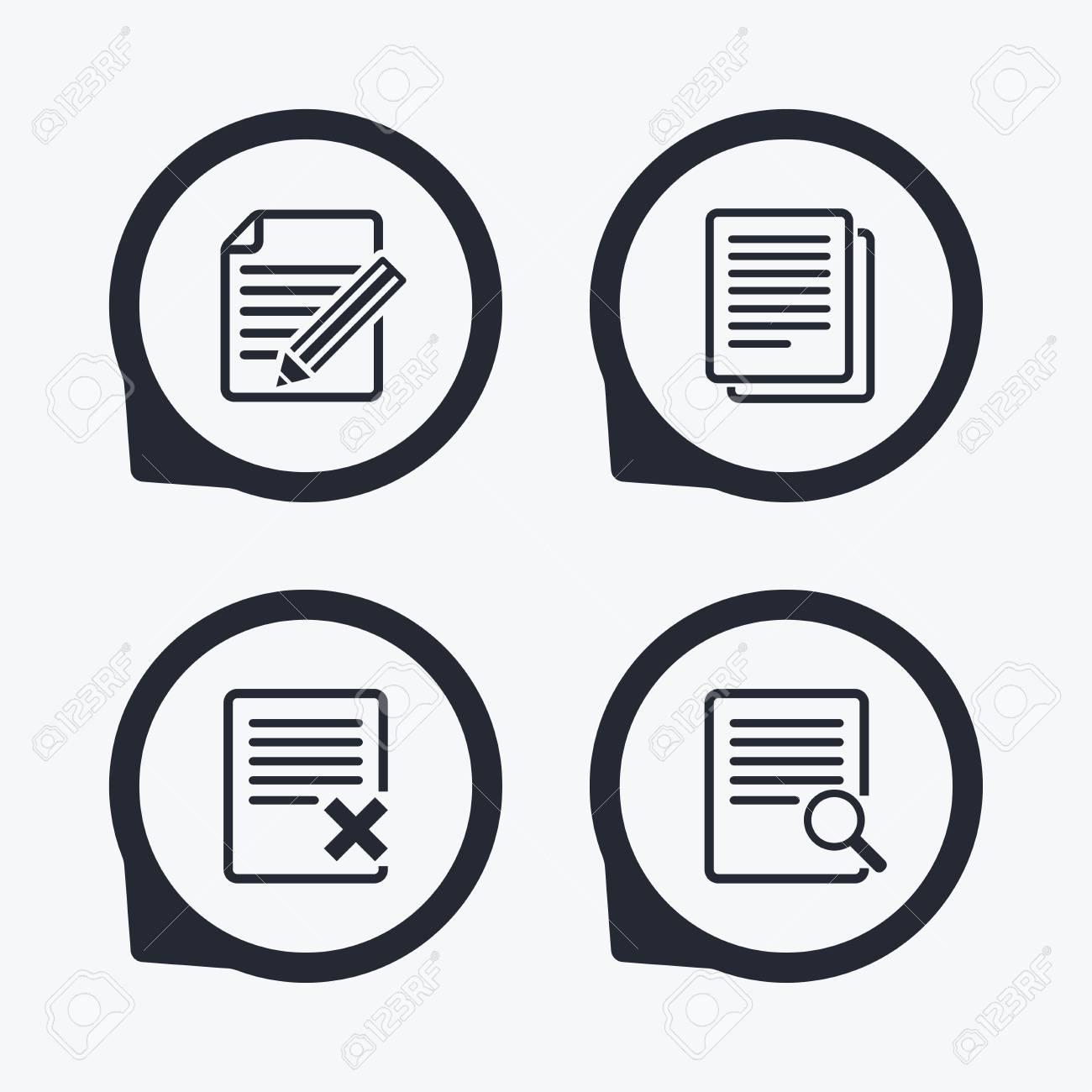 dfb8e55bbcd81 Foto de archivo - Iconos de documento de archivo. Buscar o encontrar  símbolo. editar contenidos con el signo de lápiz. Eliminar o borrar el  archivo. ...