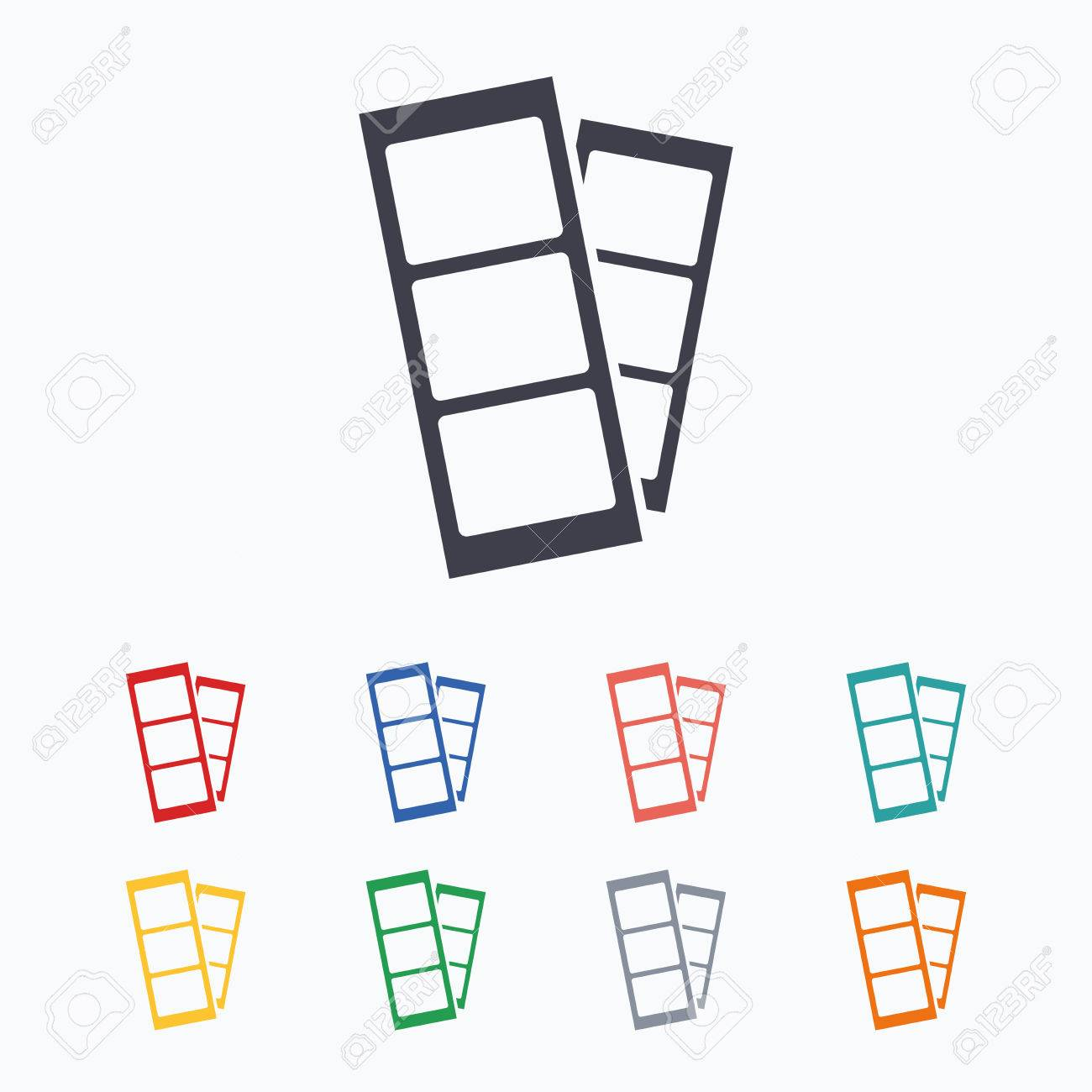 Photo Booth Strips Sign Icon Photo Frame Template Symbol Colored