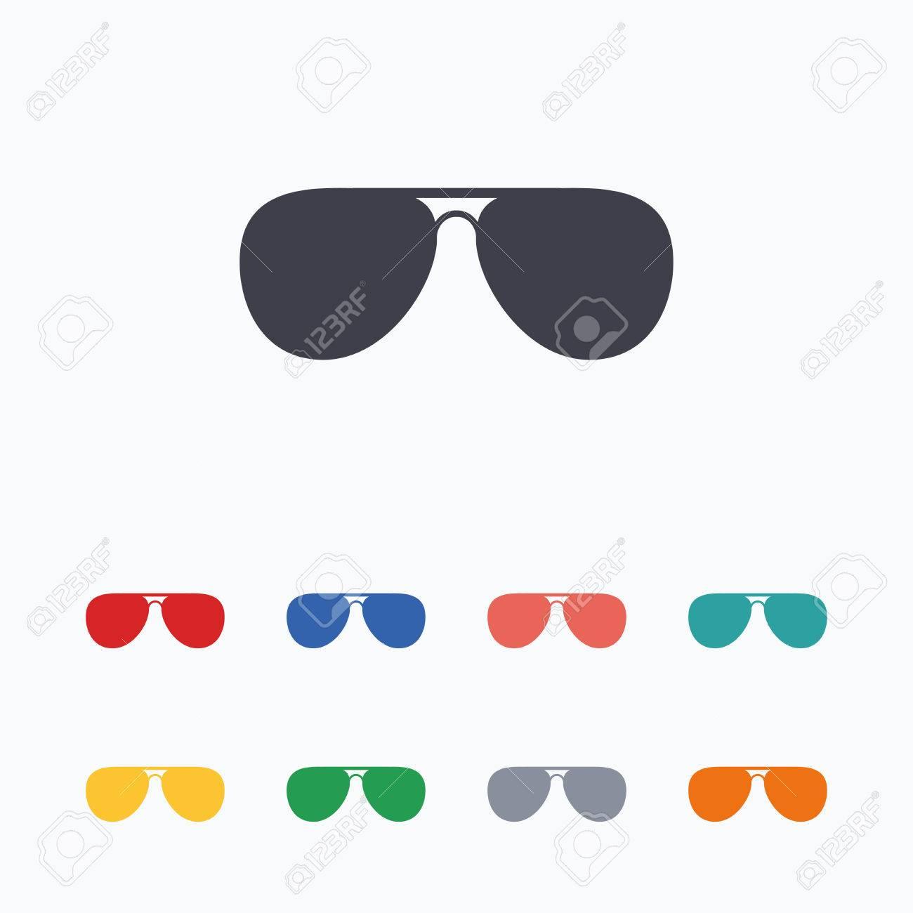 6404c7213a3deb Banque d images - Lunettes de soleil aviateur signe icône. bouton pilote  lunettes. icônes plates de couleur sur fond blanc.