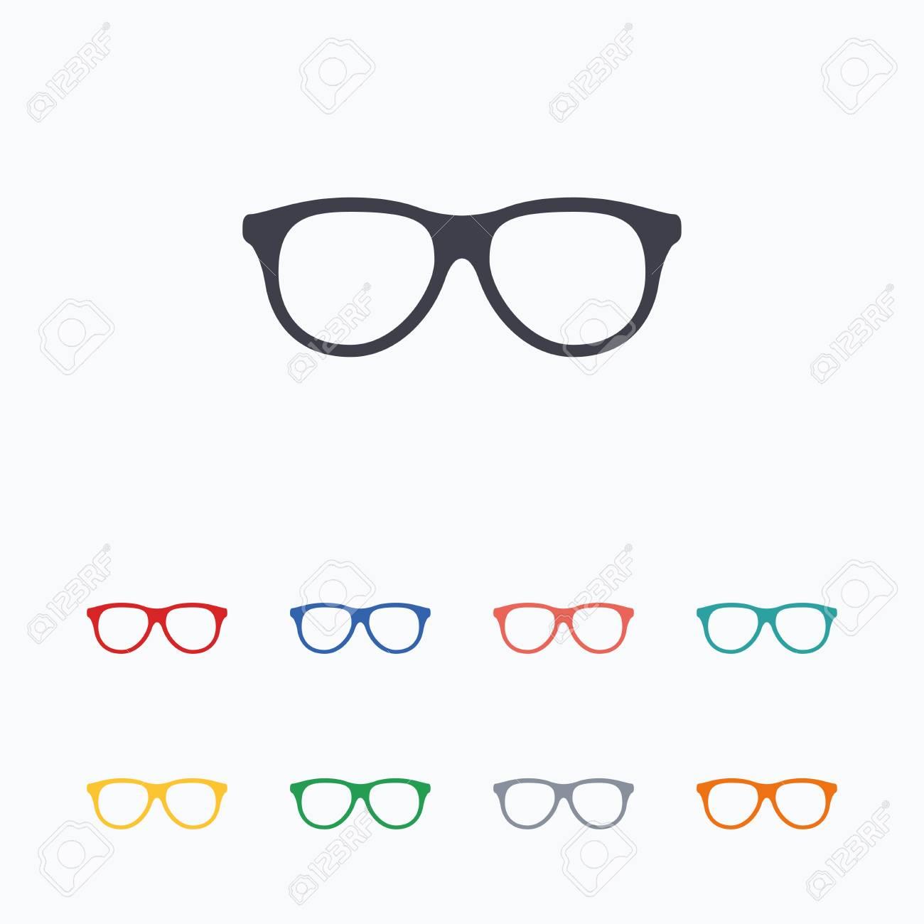 Retro Glasses Sign Icon. Eyeglass Frame Symbol. Colored Flat ...