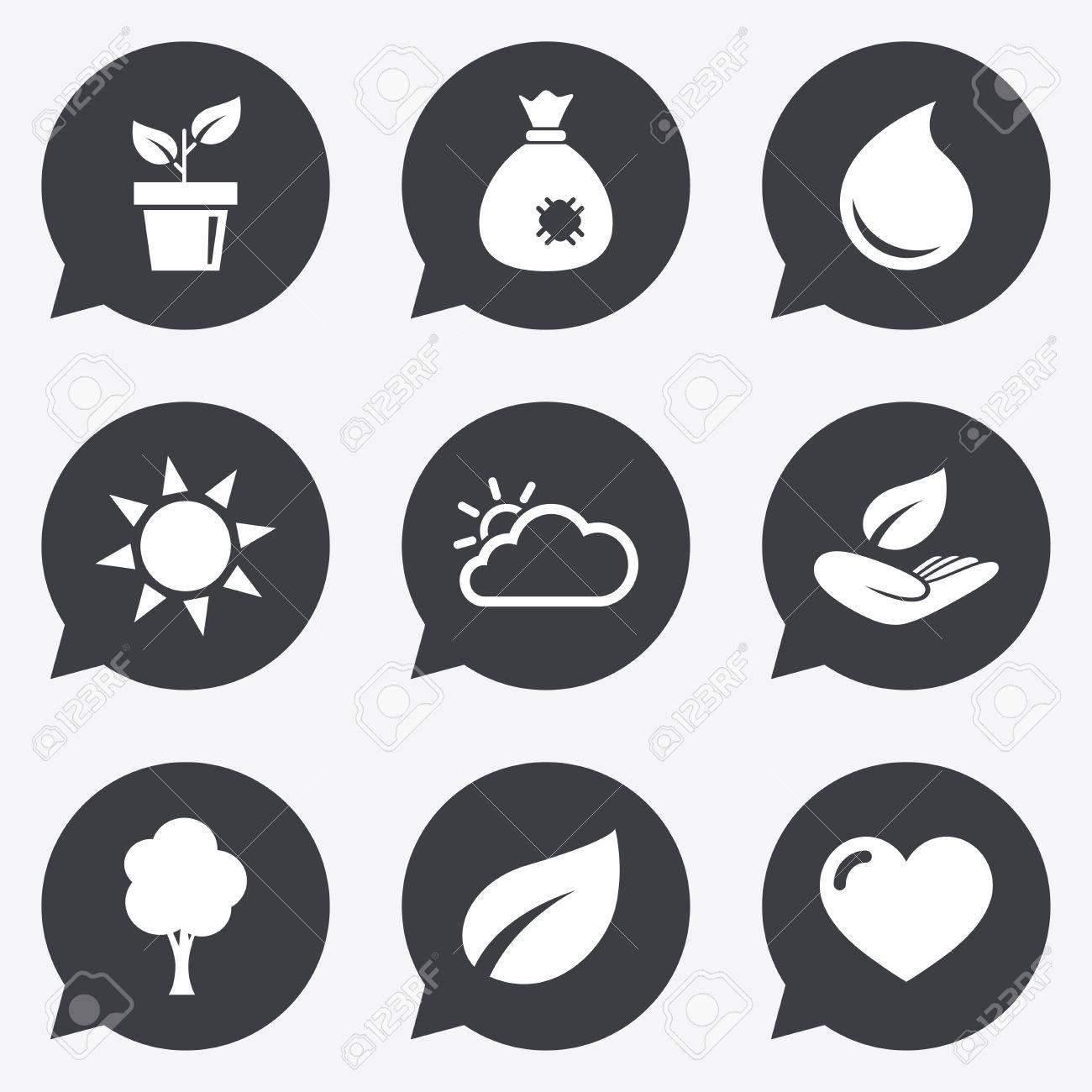 Garten Sprießen, Blatt Symbole. Natur Und Wetterzeichen. Sonne ...
