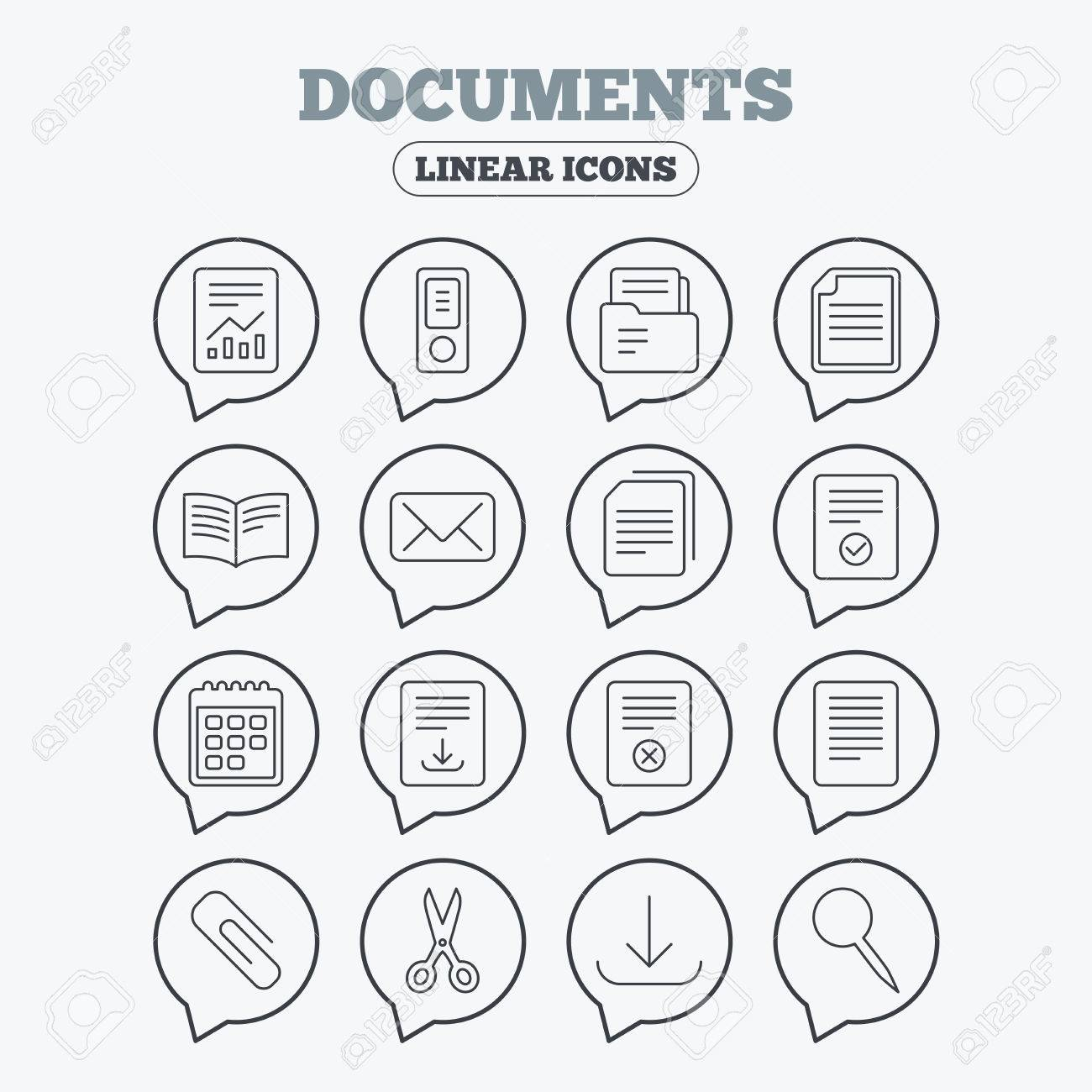 Dokumente Linear Symbole Rechnungswesen Buch Und Kalender Symbole