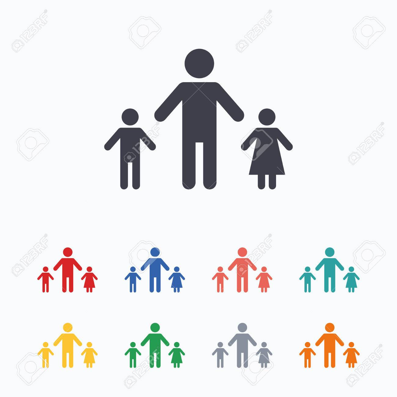 One parent family with two children sign icon father with son one parent family with two children sign icon father with son and daughter symbol biocorpaavc