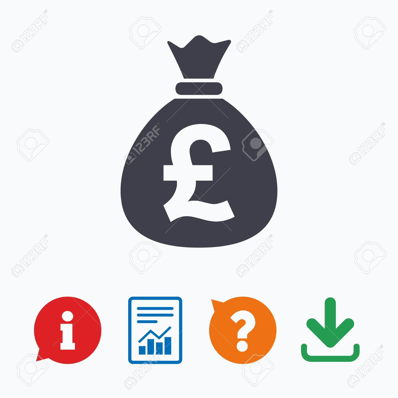 Money bag sign icon pound gbp currency symbol information think pound gbp currency symbol information think bubble question mark buycottarizona Choice Image