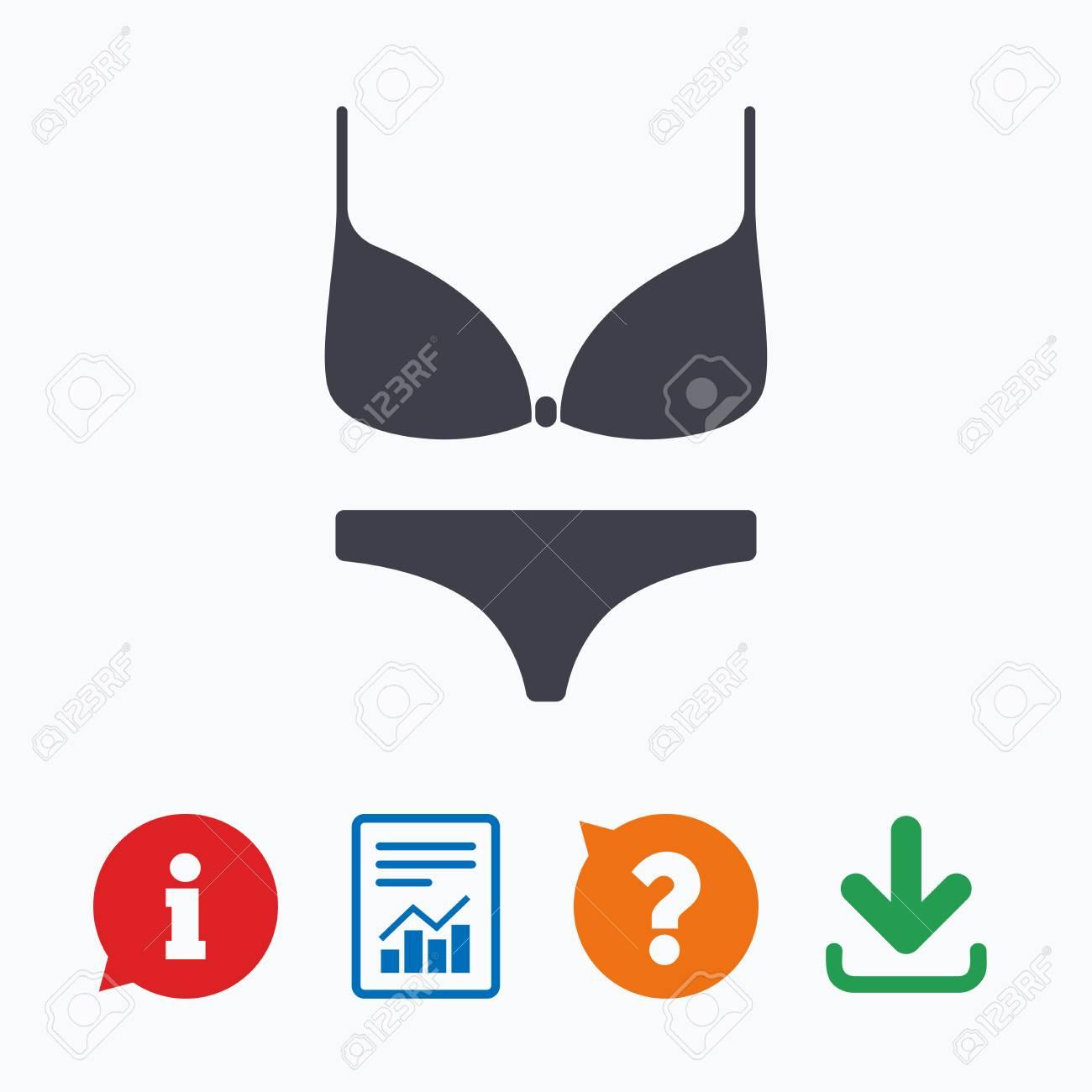 be5698ab77da Foto de archivo - Las mujeres sujetador y bragas firman el icono. Íntima  símbolo de la ropa interior. Burbuja de información, interrogación, ...