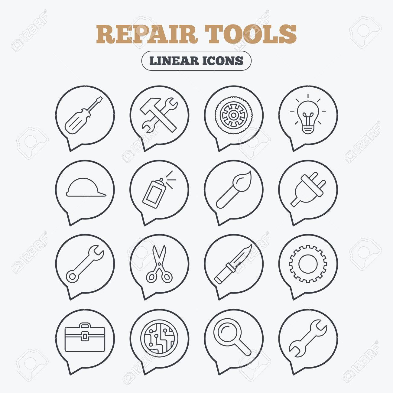 Repair Tools Icons Hammer With Wrench Key Wheel And Brush Circuit Board Screwdriver Electric