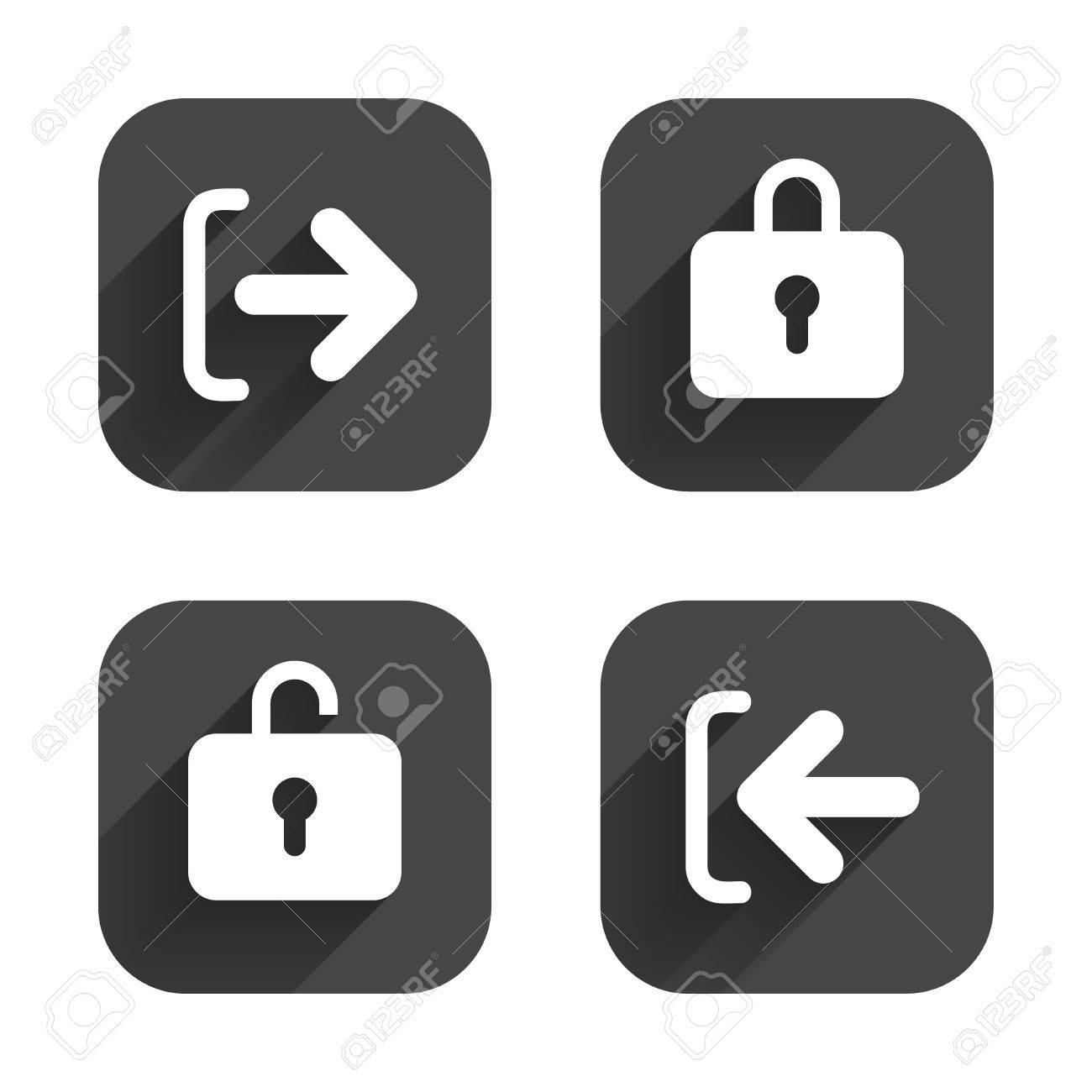 Login and Logout icons  Sign in or Sign out symbols  Lock icon