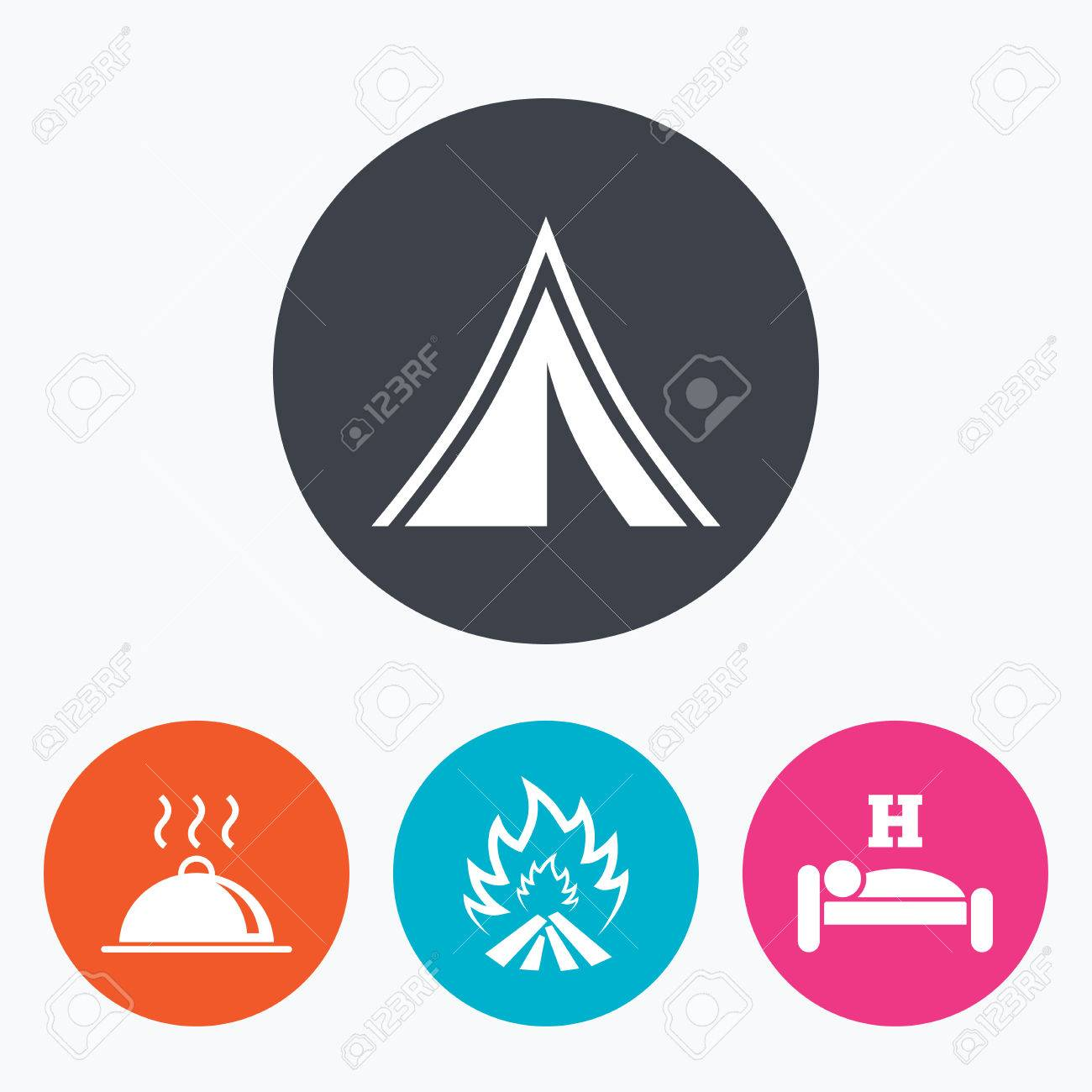 Hot food sleep c&ing tent and fire icons. Hotel or bed and breakfast  sc 1 st  123RF Stock Photos & Hot Food Sleep Camping Tent And Fire Icons. Hotel Or Bed And ...