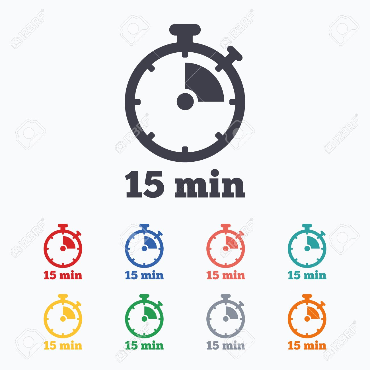 Timer sign icon  15 minutes stopwatch symbol  Colored flat icons