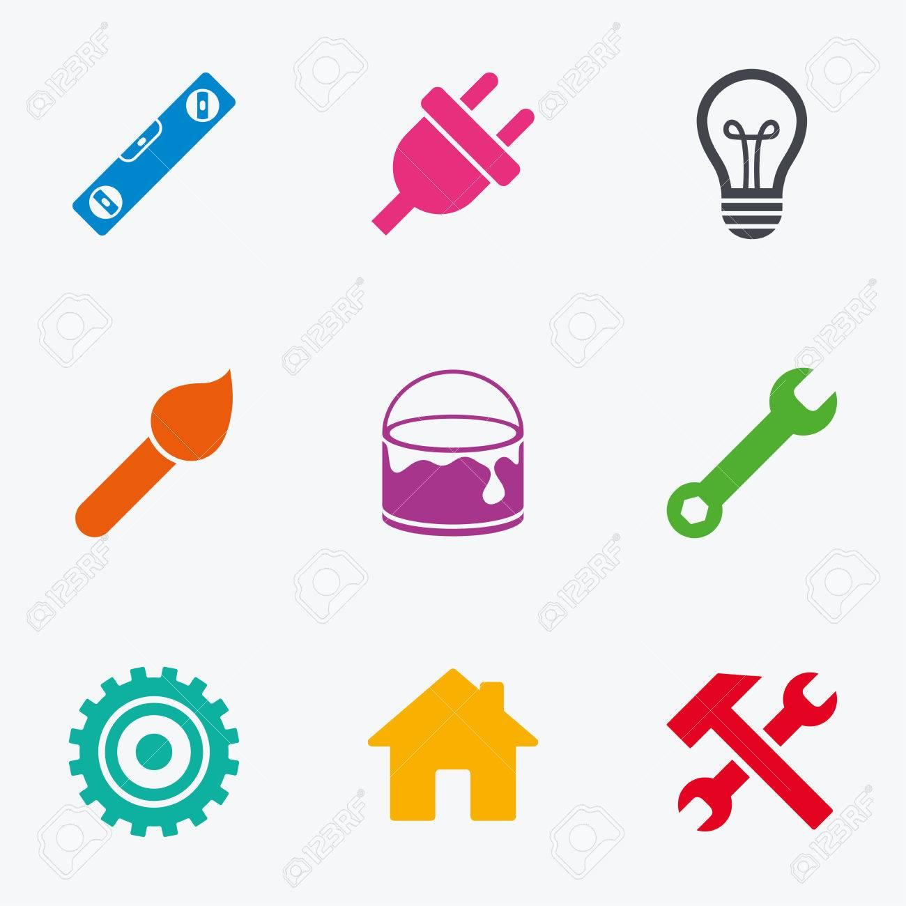 Reparatur, Bau-Icons. Hammer, Schraubenschlüssel Werkzeug Und ...