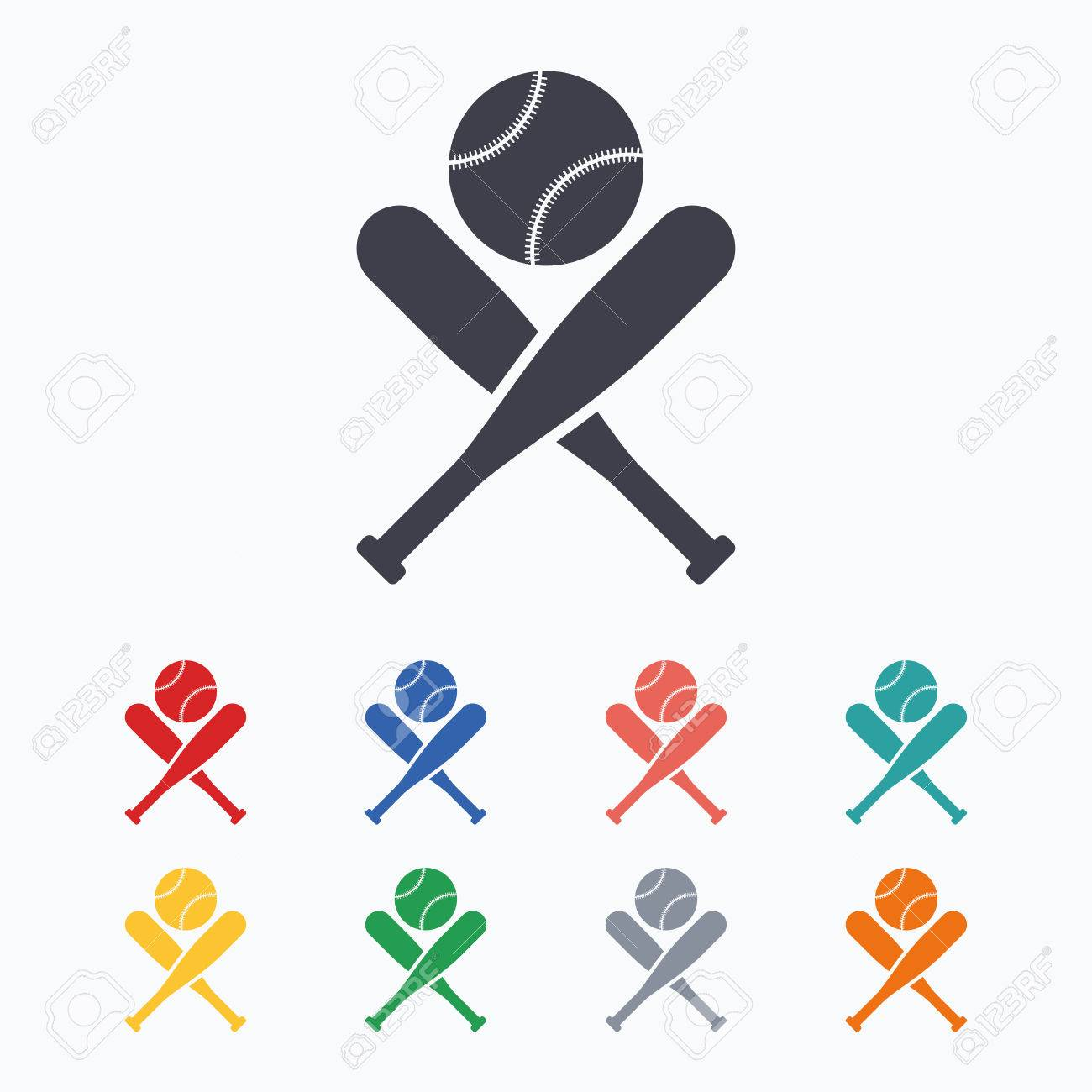 22a7105afac87 Baseball bats and ball sign icon. Sport hit equipment symbol. Colored flat  icons on