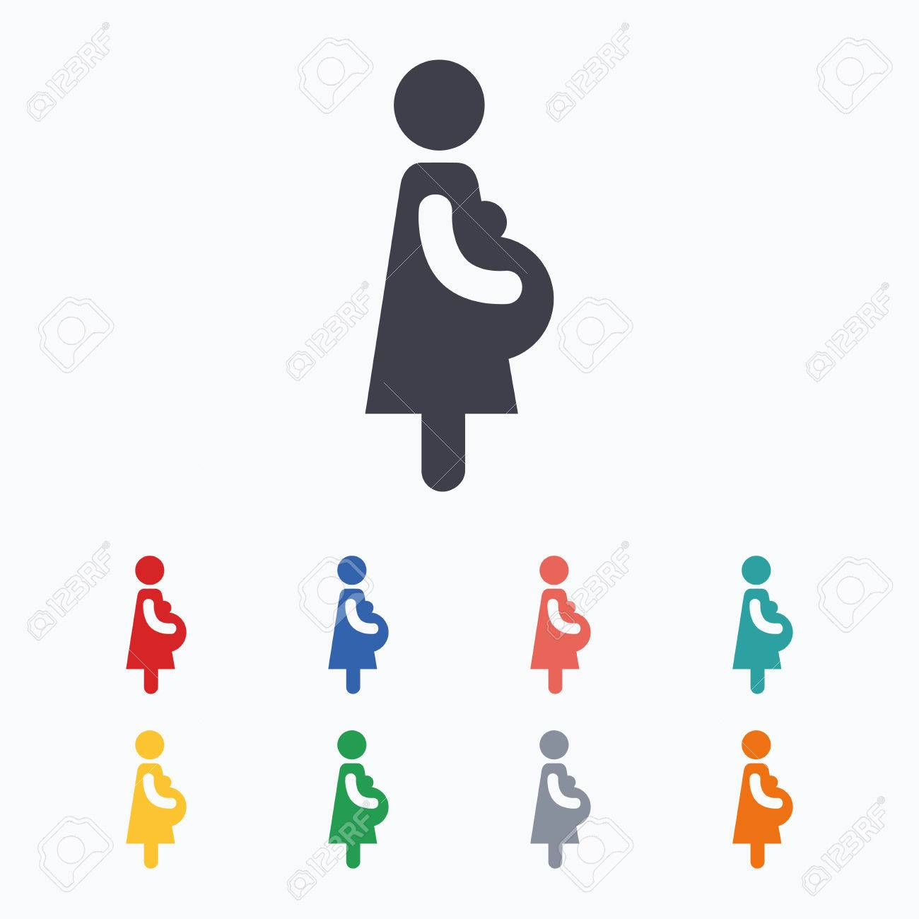 Enceinte signe icône. Femmes symbole de la grossesse. icônes plates de  couleur sur fond blanc.