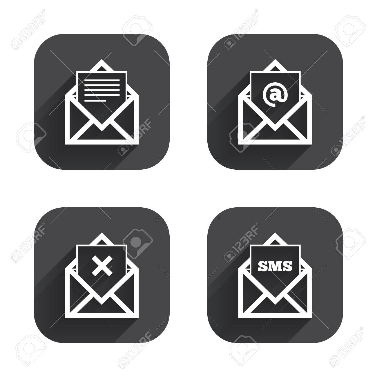 Mail envelope icons message document symbols post office letter message document symbols post office letter signs delete mail and biocorpaavc Images