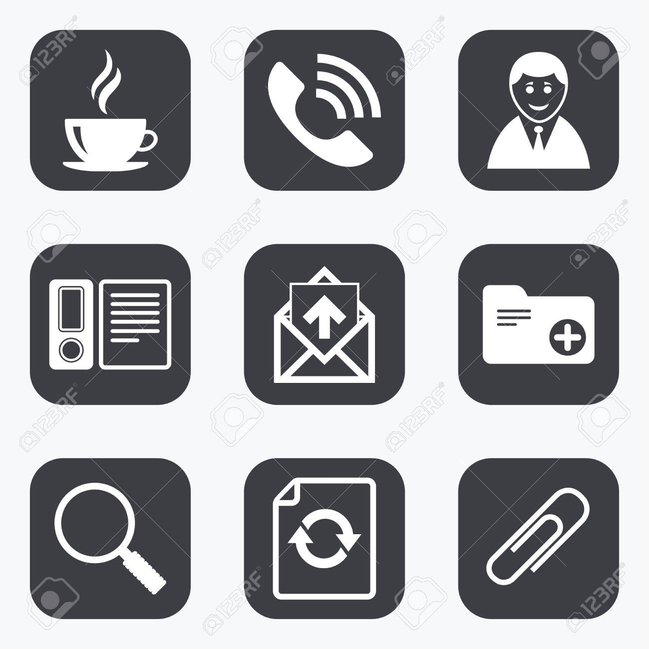 Office Documents And Business Icons Coffee Phone Call And