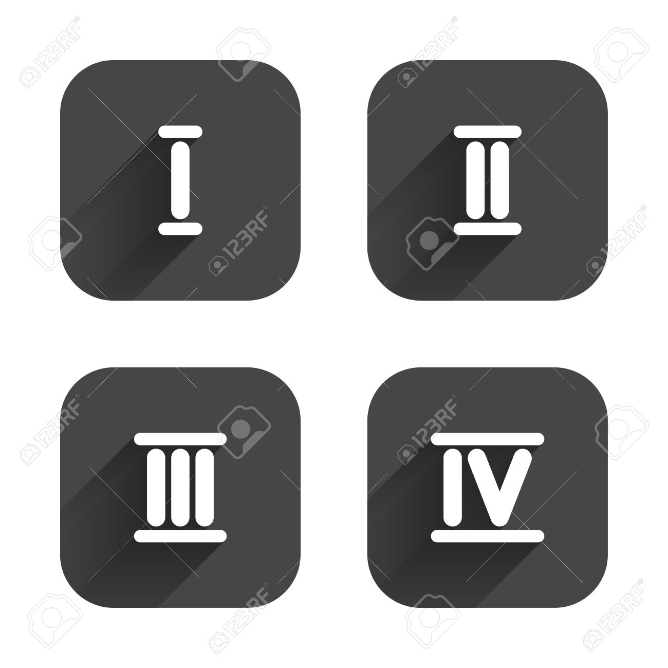 Roman Numeral Icons. 1, 2, 3 And 4 Digit Characters. Ancient ...