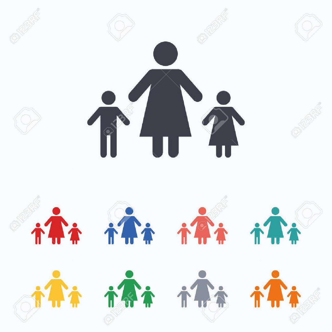 One Parent Family With Two Children Sign Icon Mother With Son