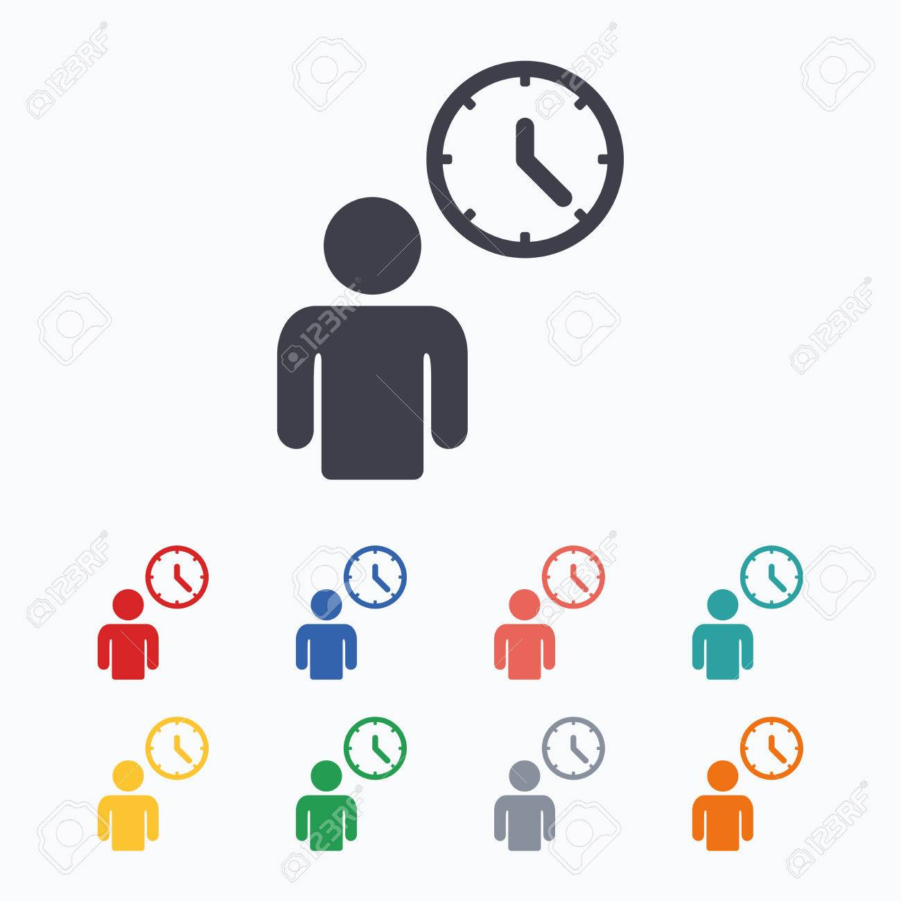 Person waiting sign icon time symbol queue colored flat icons time symbol queue colored flat icons on white background ccuart Images