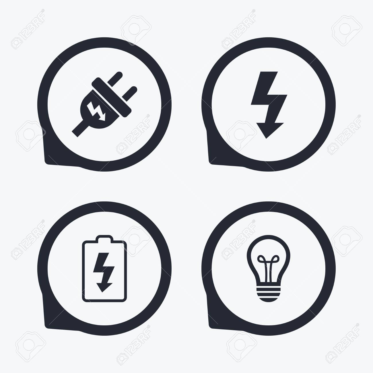 Electric Plug Icon Lamp Bulb And Battery Symbols Low Electricity