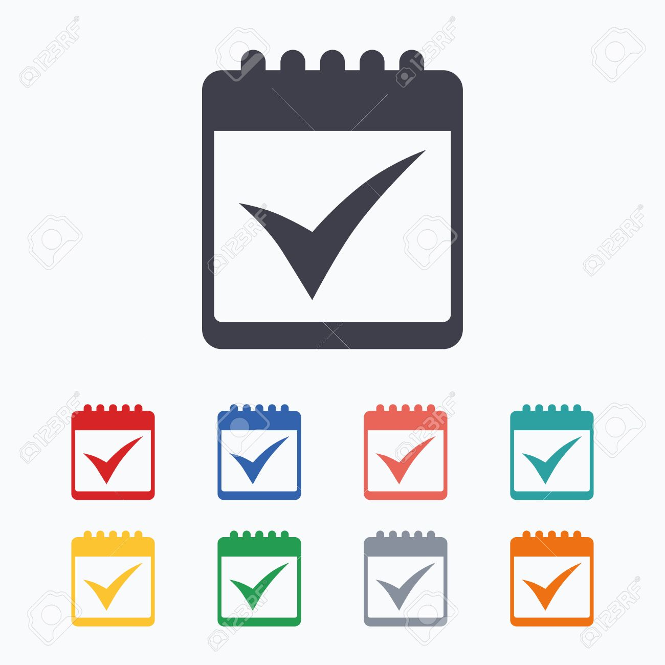 Calendar Sign Icon Check Mark Symbol Colored Flat Icons On