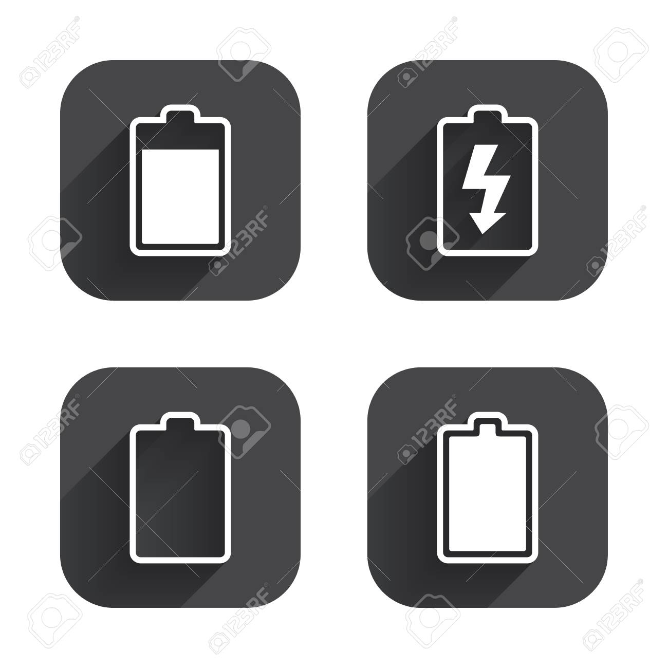 Battery charging icons electricity signs symbols charge levels battery charging icons electricity signs symbols charge levels full empty square buycottarizona Gallery
