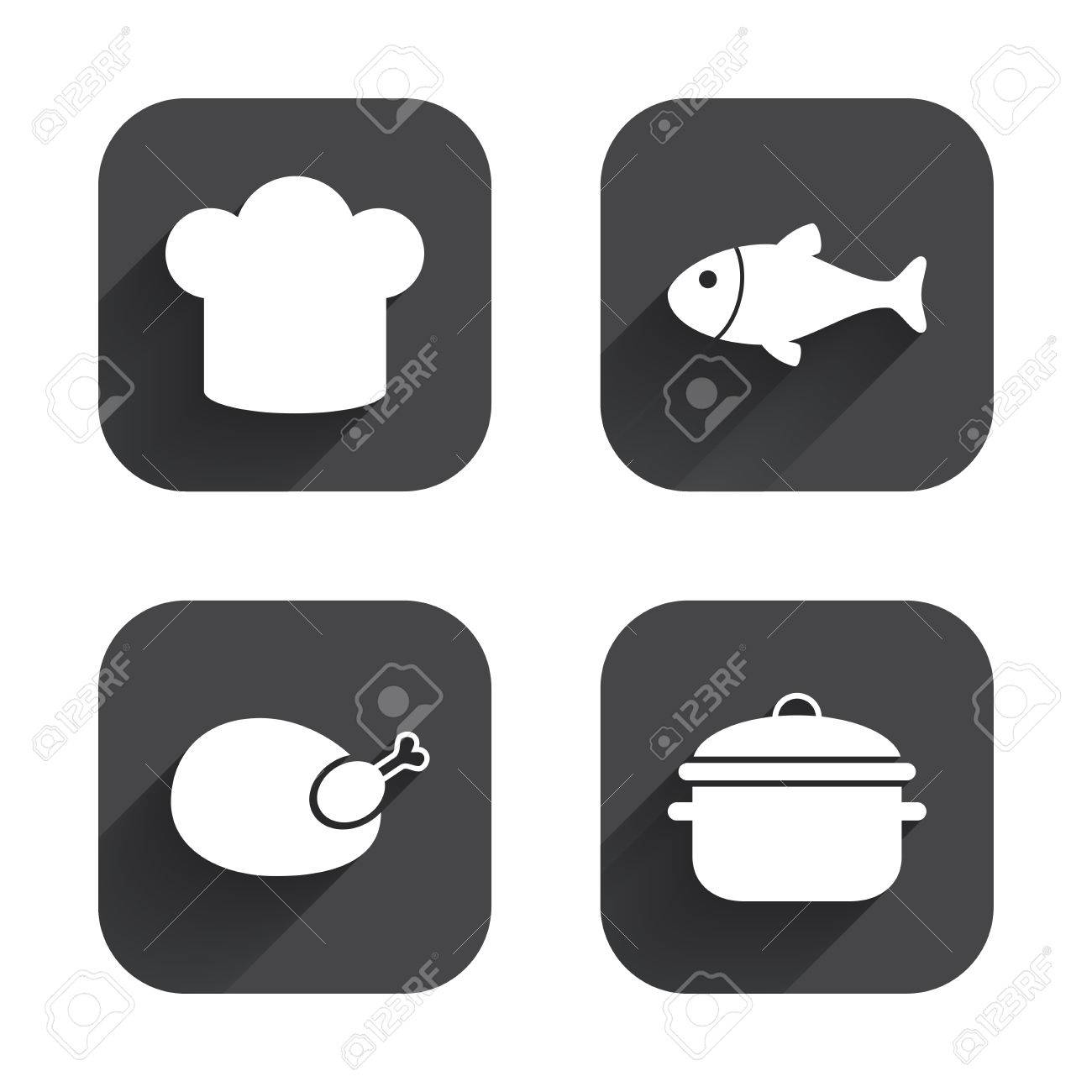 Chief Hat And Cooking Pan Icons Fish And Chicken Signs Boil