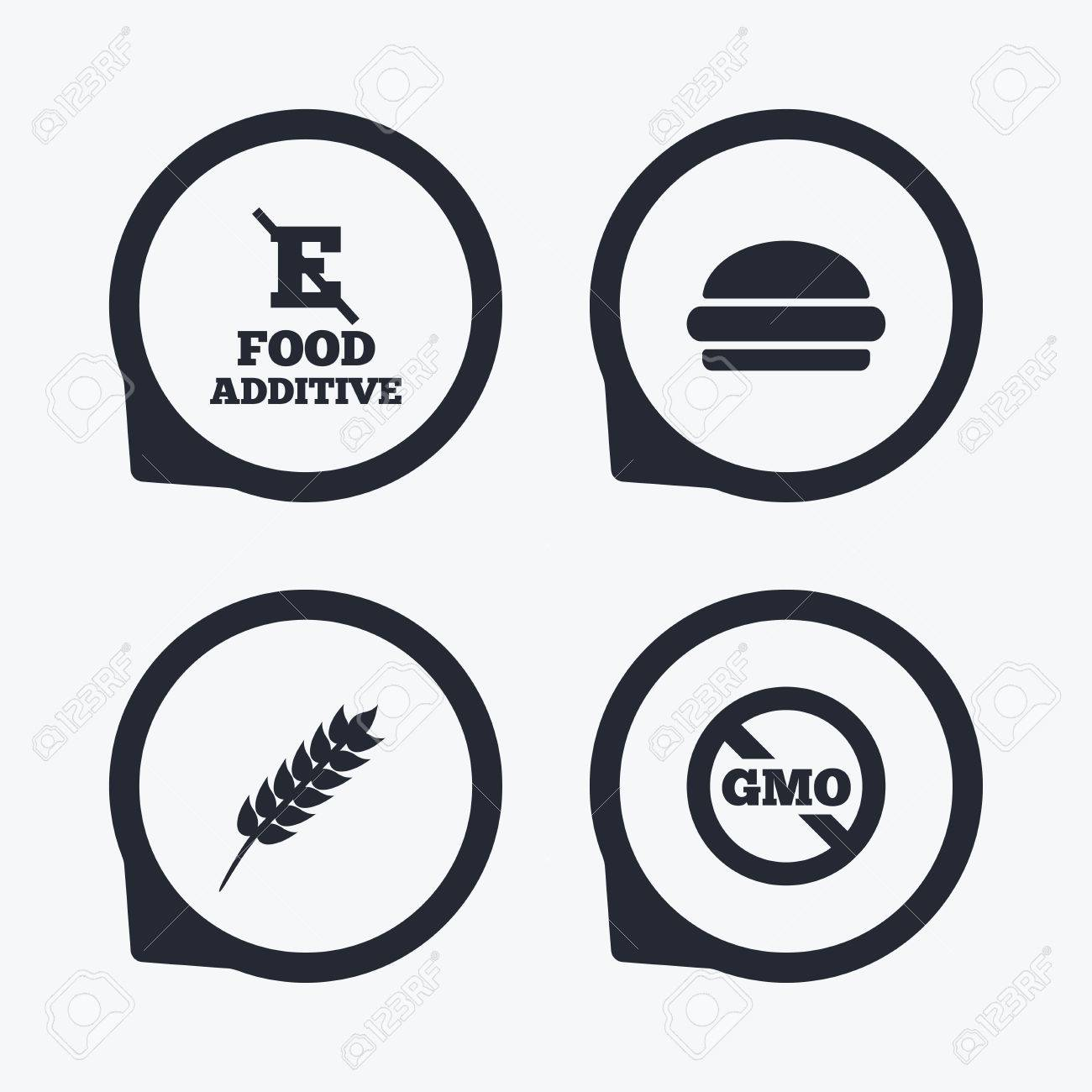 Food Additive Icon Hamburger Fast Food Sign Gluten Free And
