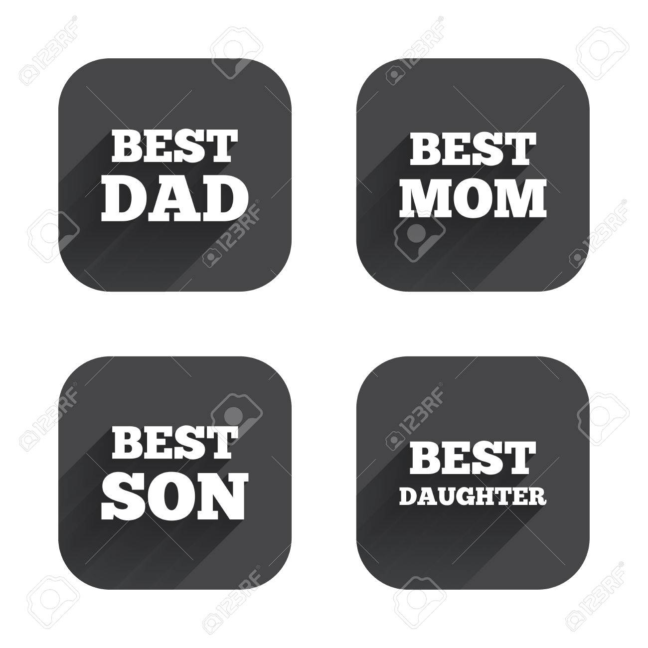 Best Mom And Dad Son And Daughter Icons Award Symbols Square