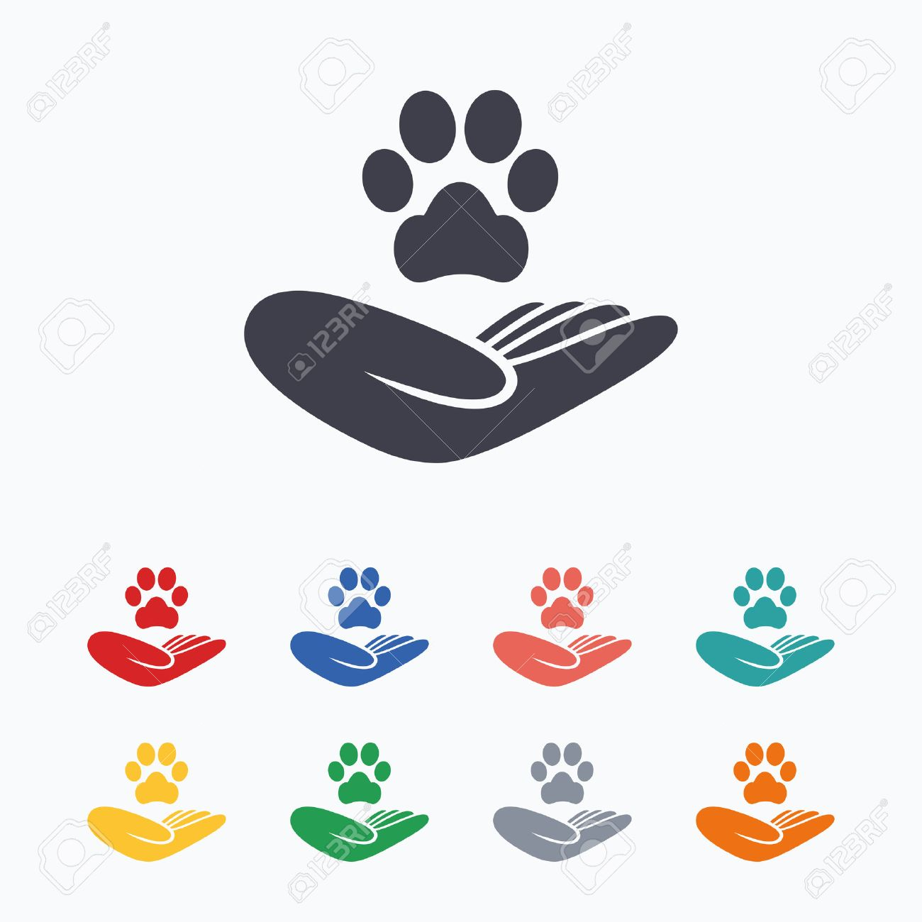 Shelter pets sign icon hand holds paw symbol animal protection hand holds paw symbol animal protection colored flat icons biocorpaavc