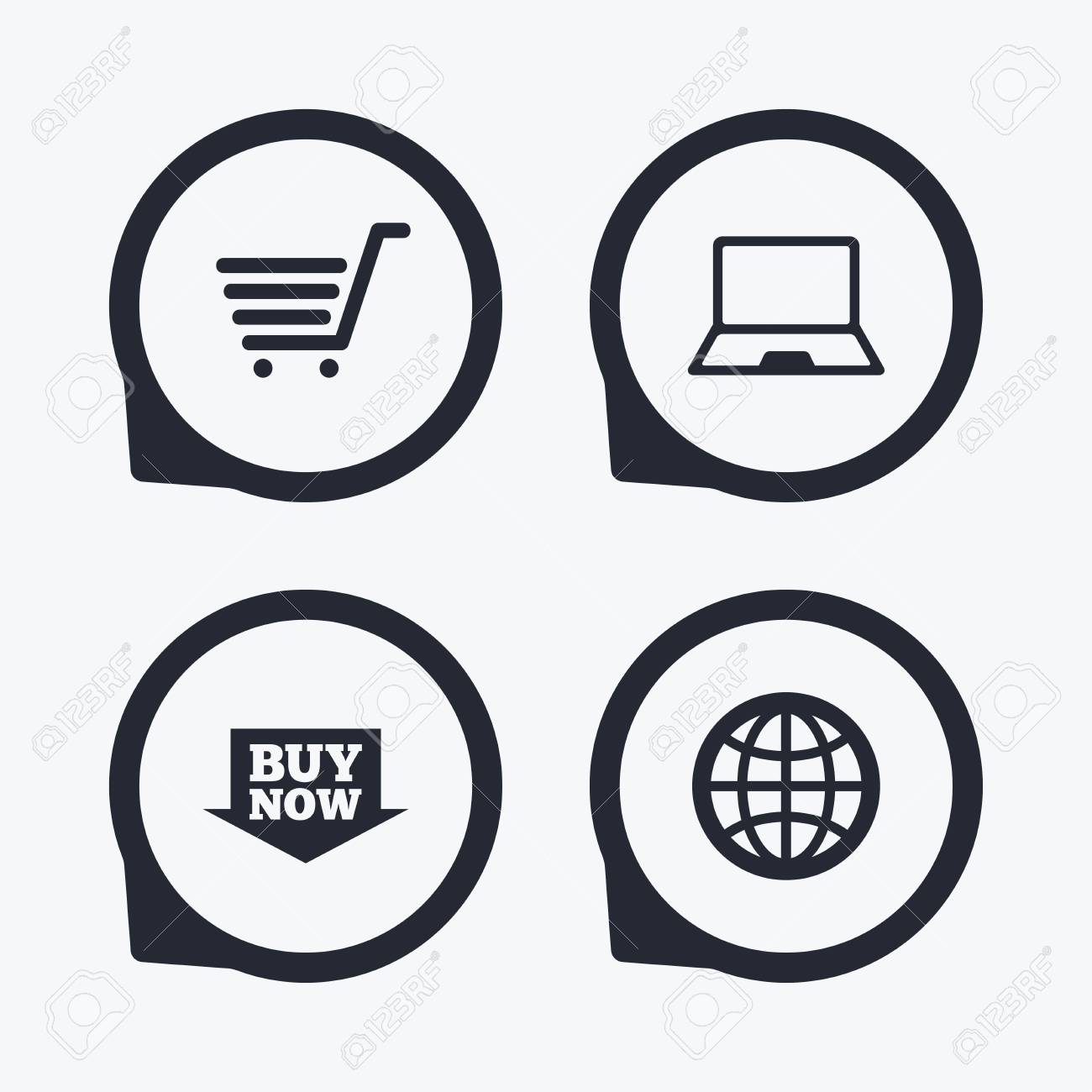 Online Shopping Icons Notebook Pc Shopping Cart Buy Now Arrow