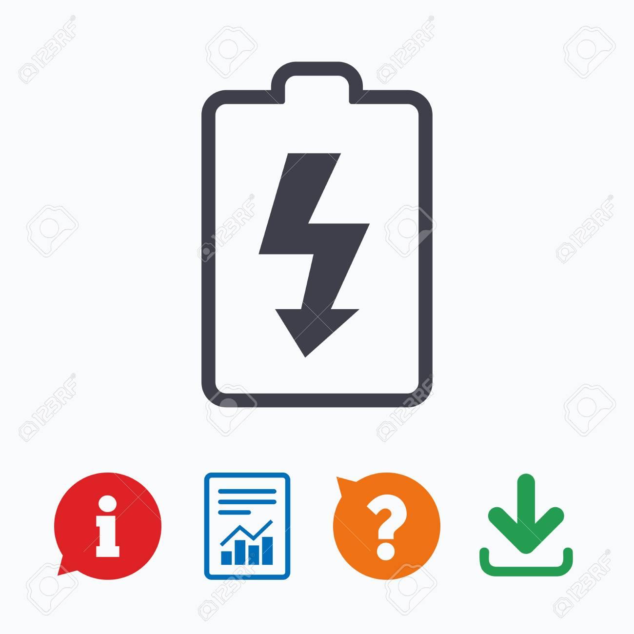 Battery Charging Sign Icon Lightning Symbol Information Think