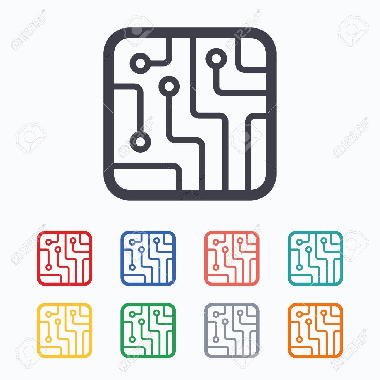 Circuit Board Sign Icon. Technology Scheme Square Symbol. Colored ...