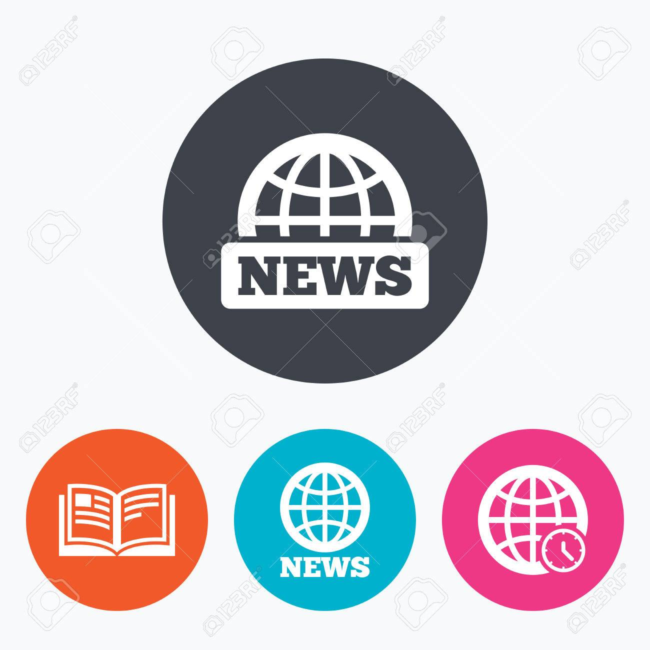 news icons world globe symbols open book sign education world globe symbols open book sign education literature circle flat