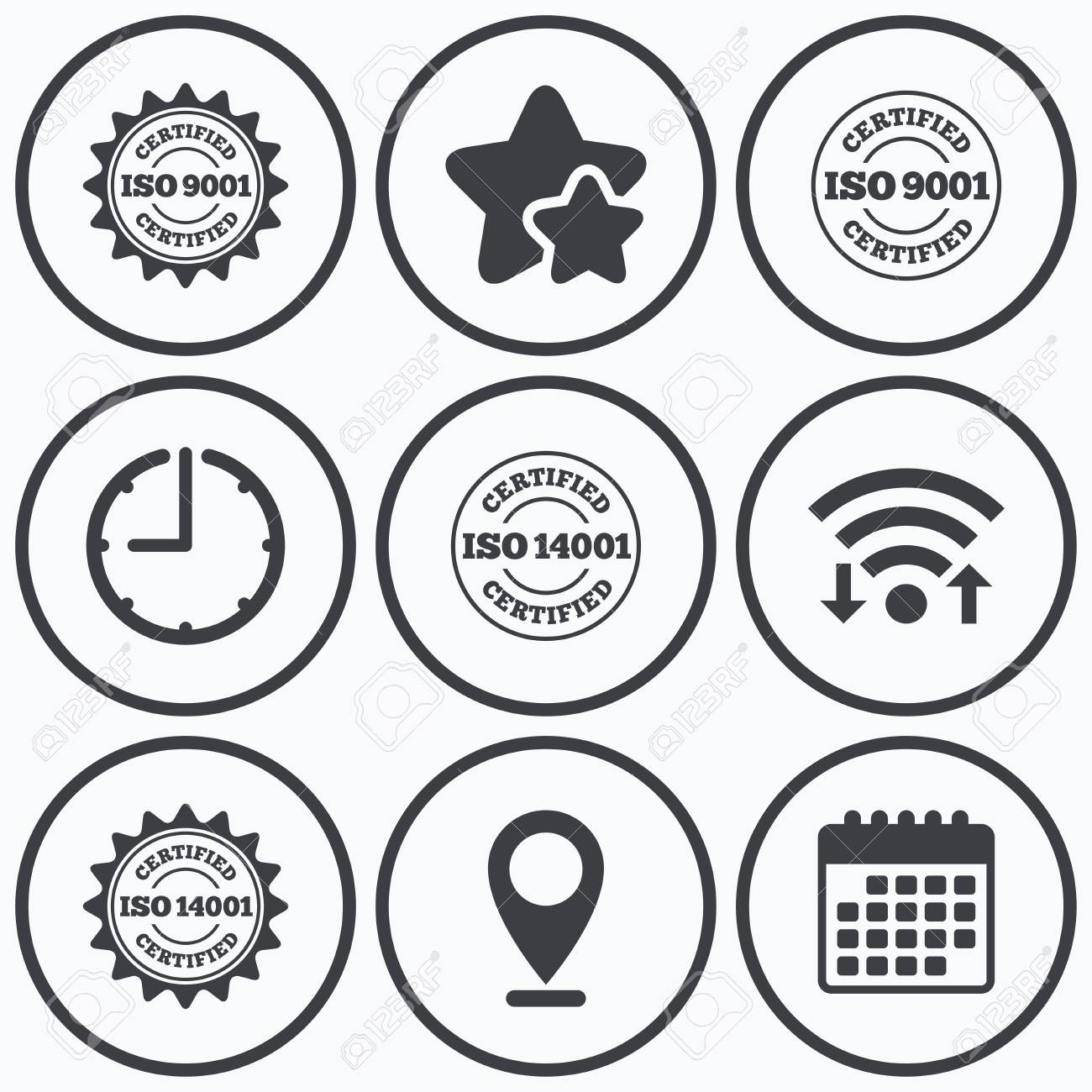 Clock Wifi And Stars Icons Iso 9001 And 14001 Certified Icons