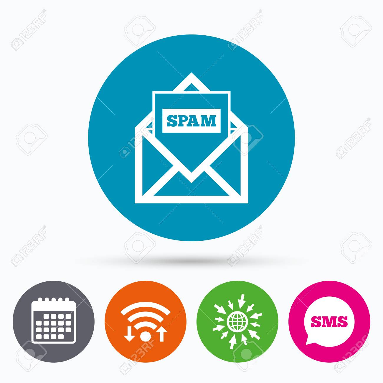 Wifi Sms And Calendar Icons Mail Icon Envelope Symbol Message