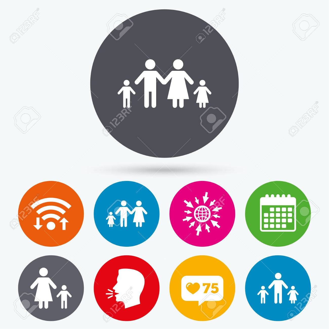Wifi like counter and calendar icons family with two children wifi like counter and calendar icons family with two children icon parents and buycottarizona