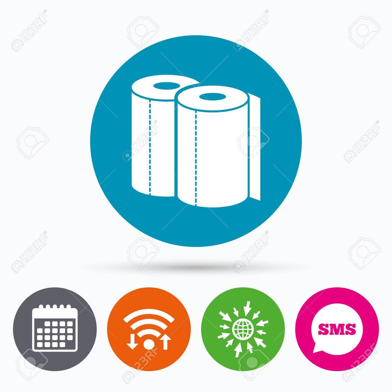 Wifi, Sms And Calendar Icons. Paper Towels Sign Icon. Kitchen ...