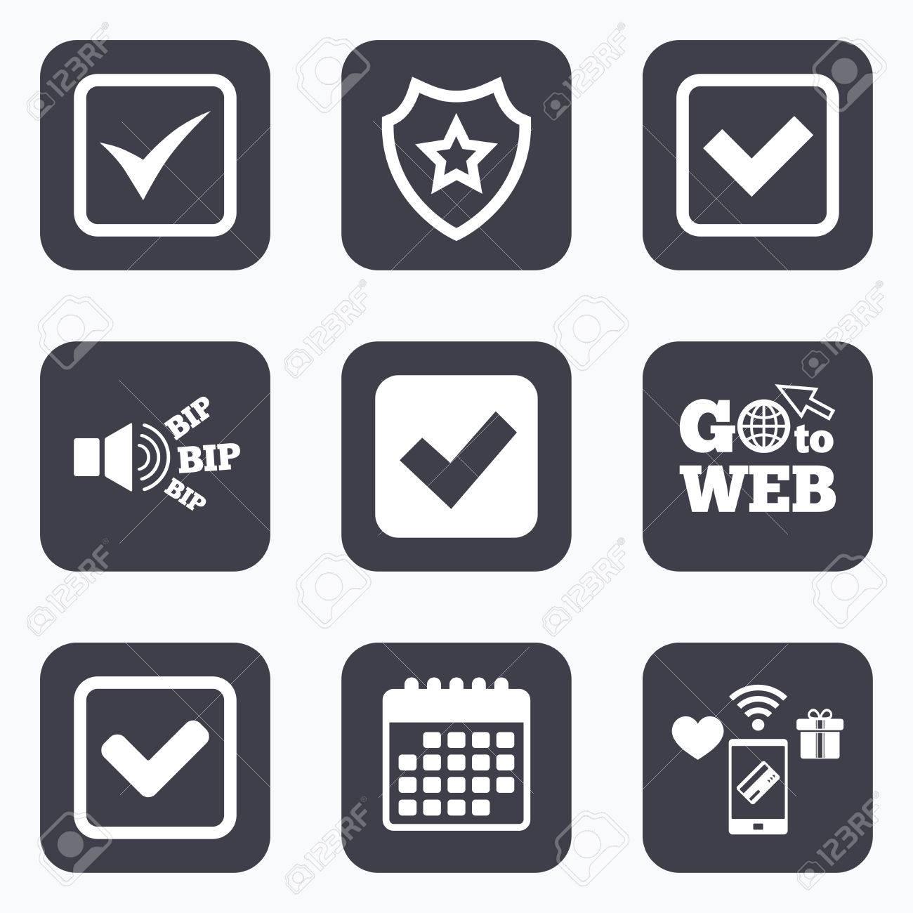 Calendrier A Cocher.Paiements Mobiles Wifi Et Icones De Calendrier Verifiez Les Icones La Case A Cocher Confirme Les Symboles De Signe Carres Aller Au Symbole Web