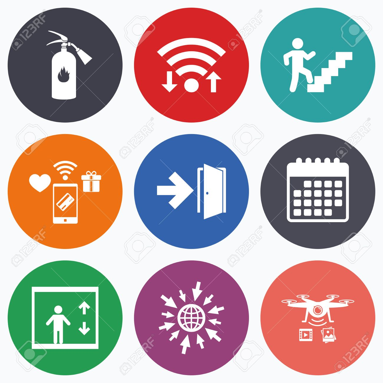 Emergency stop icon clipart emergency off - Emergency Exit Sign Icon Wifi Mobile Payments And Drones Icons Emergency Exit Icons