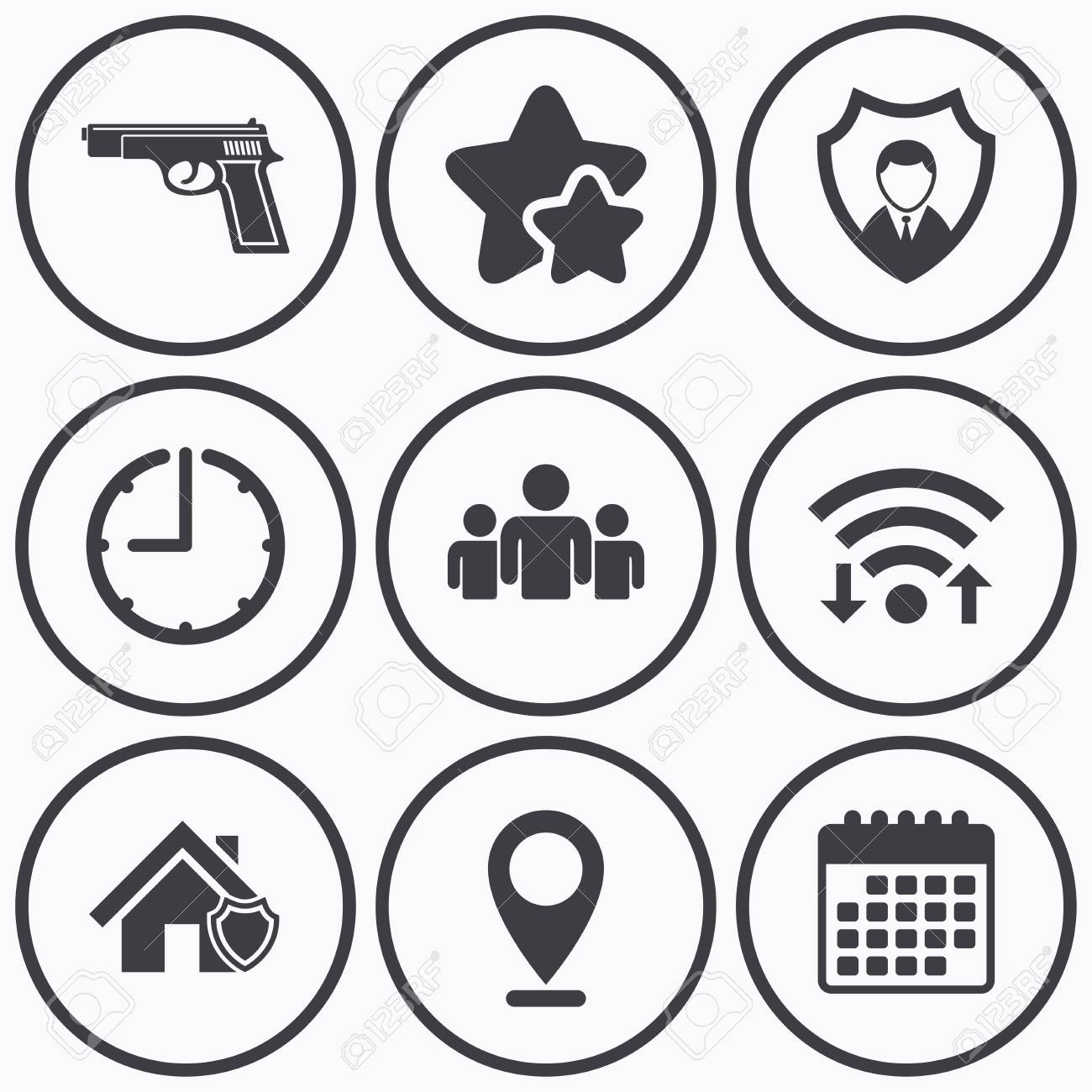 Clock wifi and stars icons security agency icons home shield clock wifi and stars icons security agency icons home shield protection symbols biocorpaavc