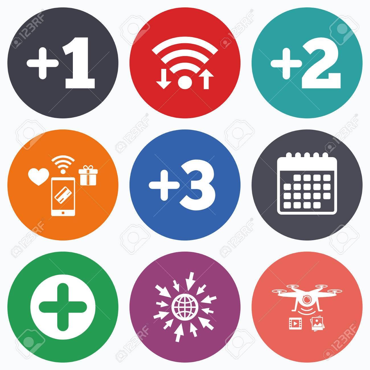 Due Piu Mobili.Wifi Pagamenti Mobili E Icone Di Droni Piu Icone Simbolo Positivo Aggiungi Uno Due Tre E Altri Quattro Segni Simbolo Del Calendario