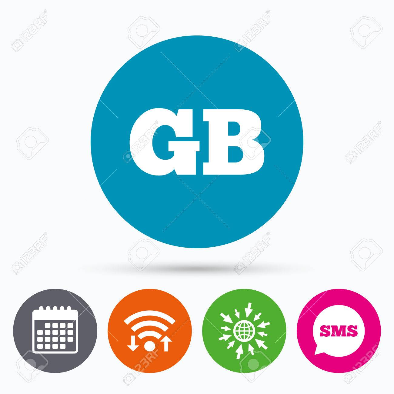 wifi sms and calendar icons british language sign icon gb