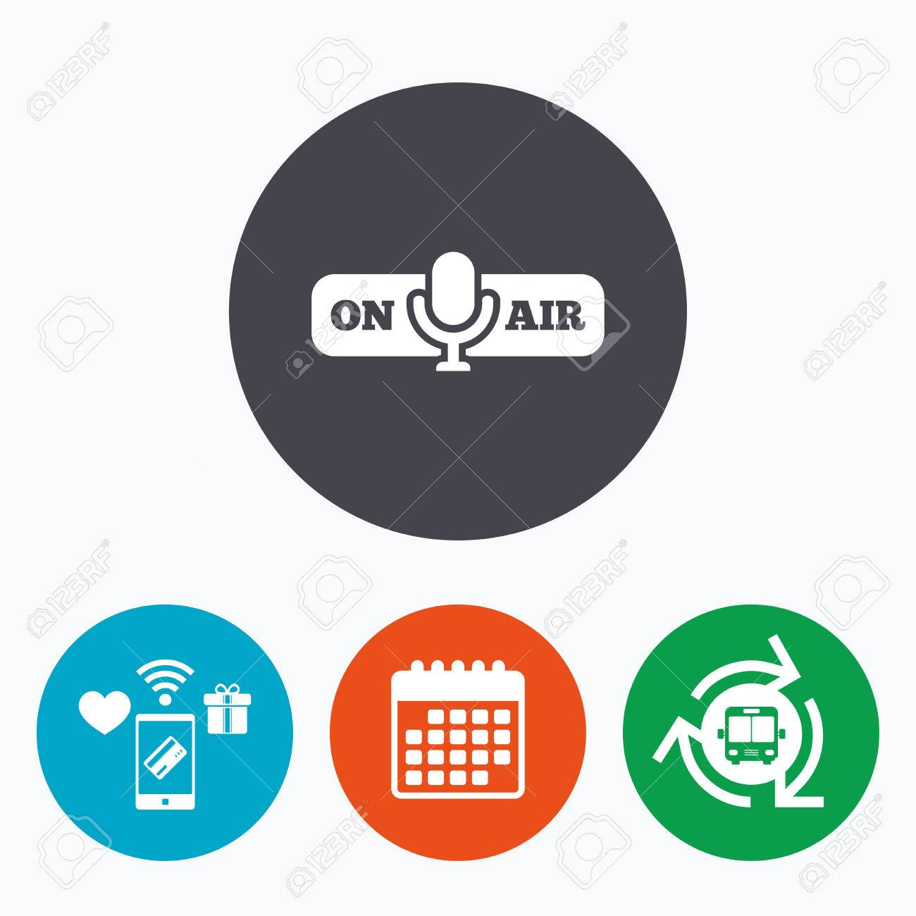 On Air Sign Icon Live Stream Symbol Microphone Symbol Mobile