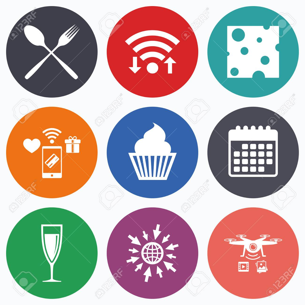 Wifi Mobile Payments And Drones Icons Food Icons Muffin Cupcake