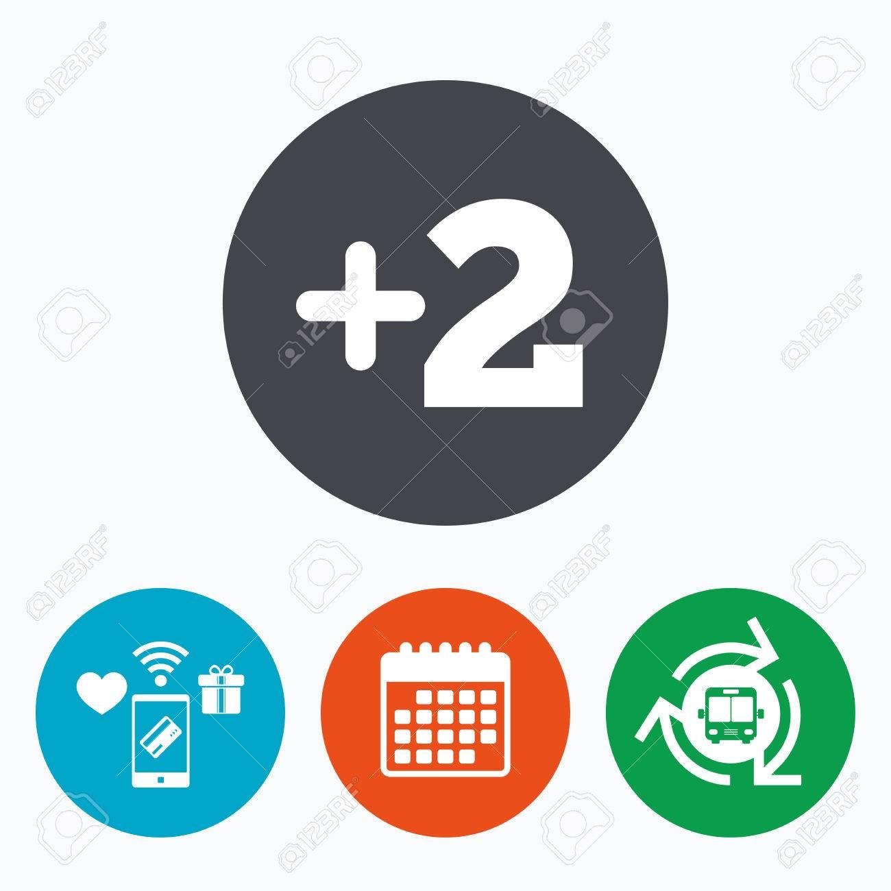 Due Piu Mobili.Piu Due Segno Aggiungere Due Simbolo Ancora Due Pagamenti Mobili Calendario E Wifi Icone Bus Navetta
