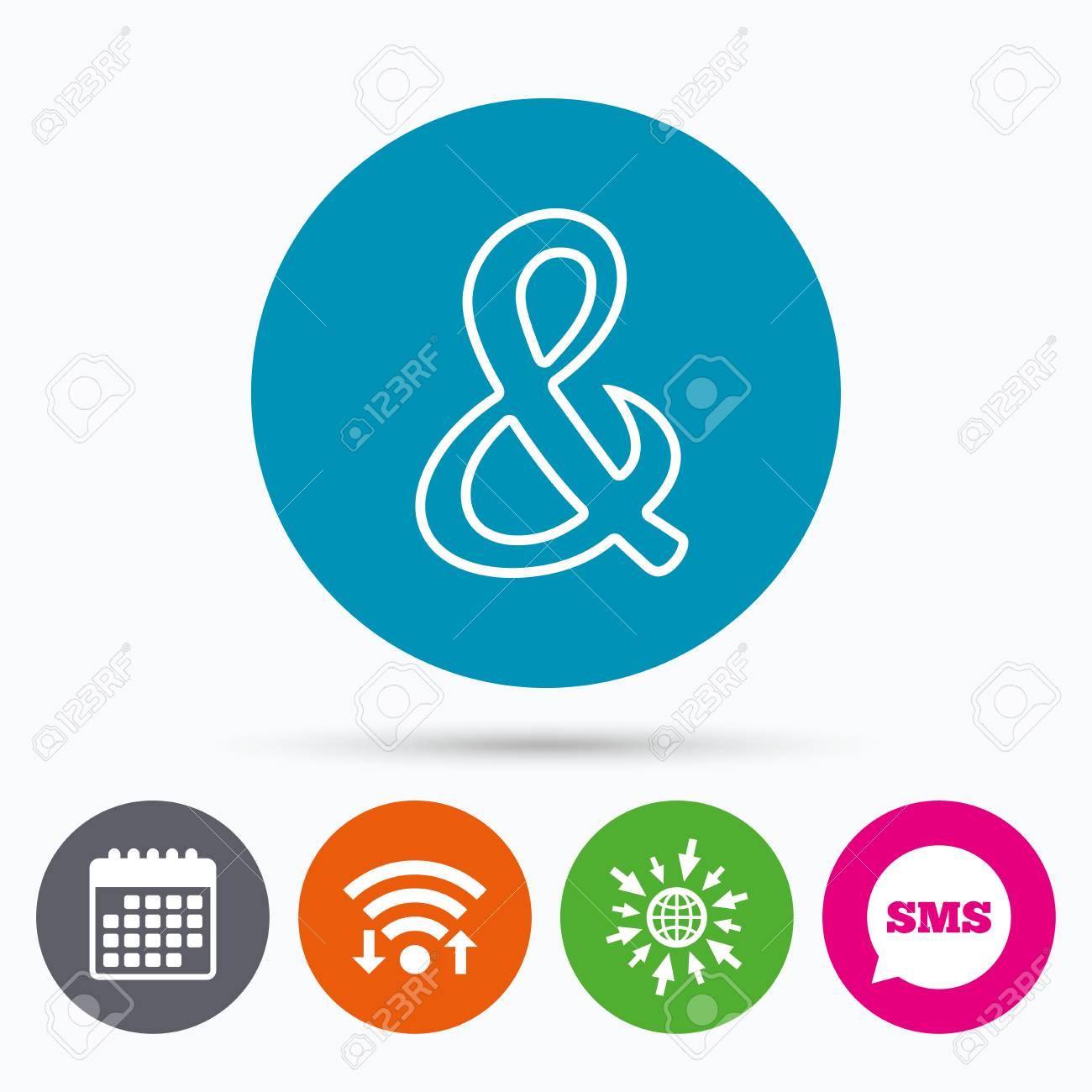 Wifi Sms Et Calendrier Icônes Ampersand Signe Icône Programmation Opérateur Logique Et Mariage Symbole Dinvitation Aller à La Page Web