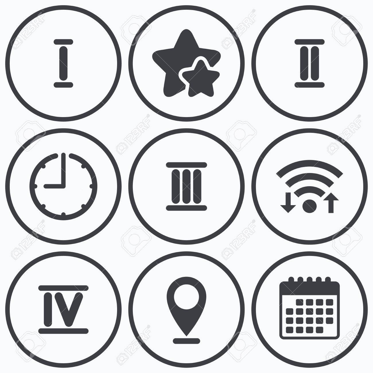Clock Wifi And Stars Icons Roman Numeral Icons 1 2 3 And - 3-roman-numerals-clocks